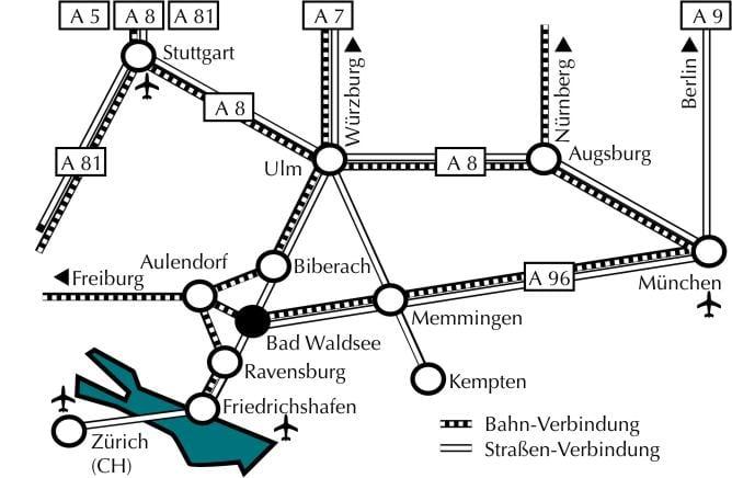 Anfahrt zu den Rehakliniken Bad Waldsee